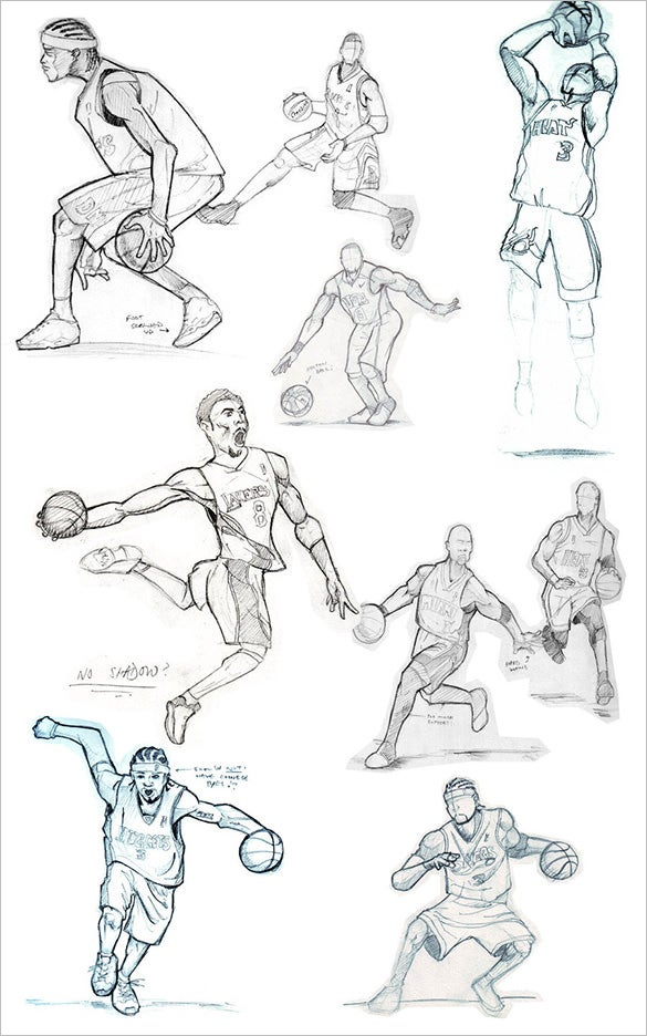 creative basketball sketches for free