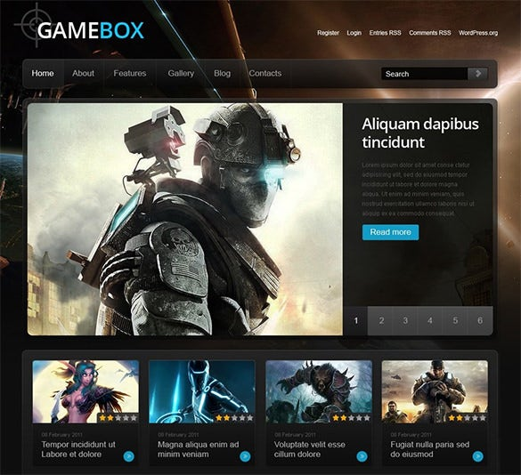 game box gaming blog theme