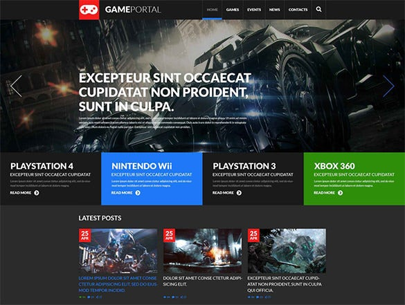 rersponsive gaming blog template
