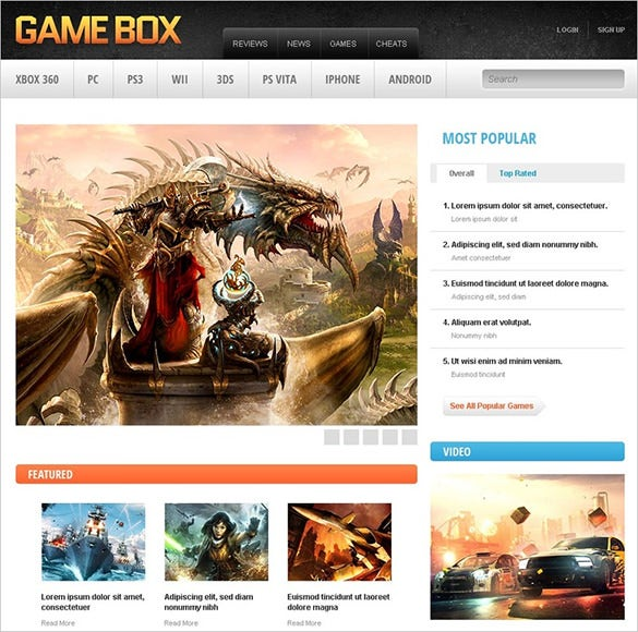 simple gaming blog theme