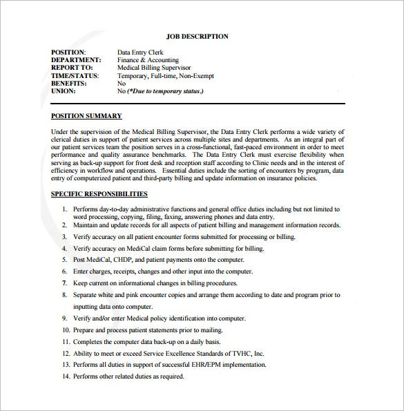 data entry job description template  u2013 9  free word  pdf