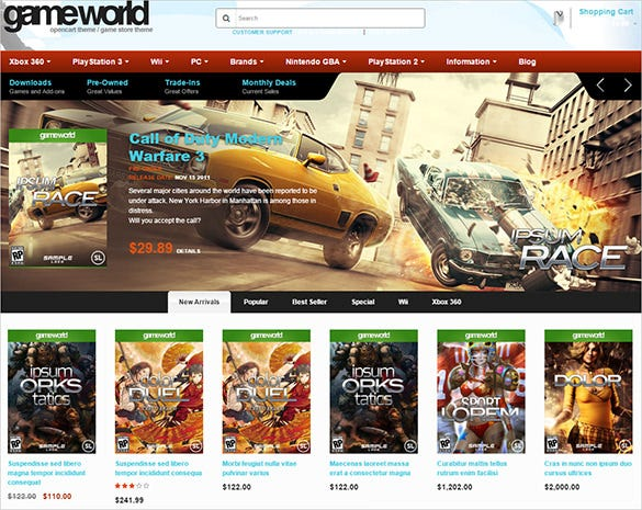 game world blog theme