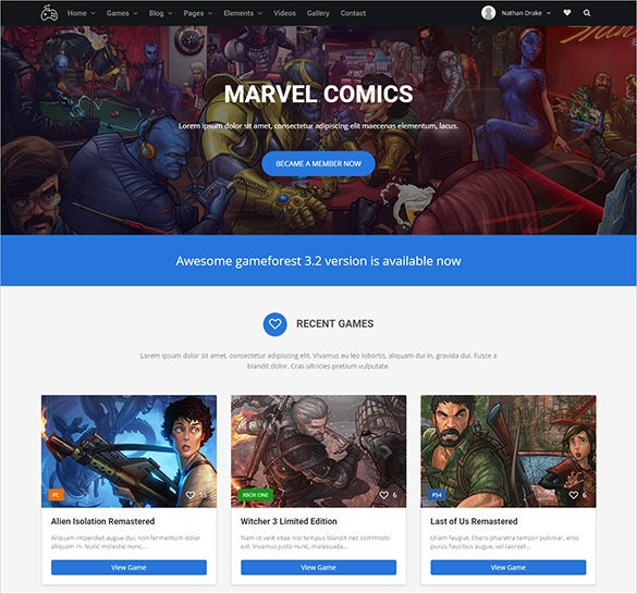 gaming comics blog template
