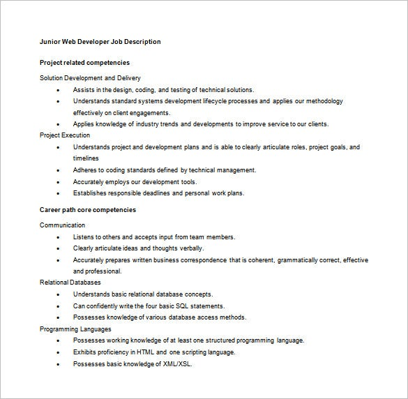 junior web developer job description sample word free download