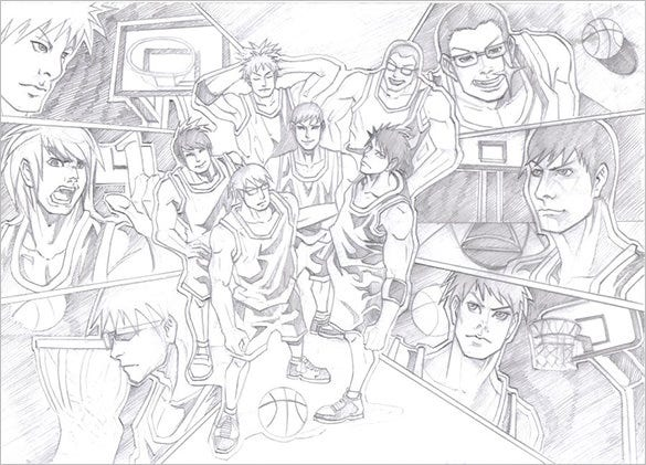 basketball team sketch for free