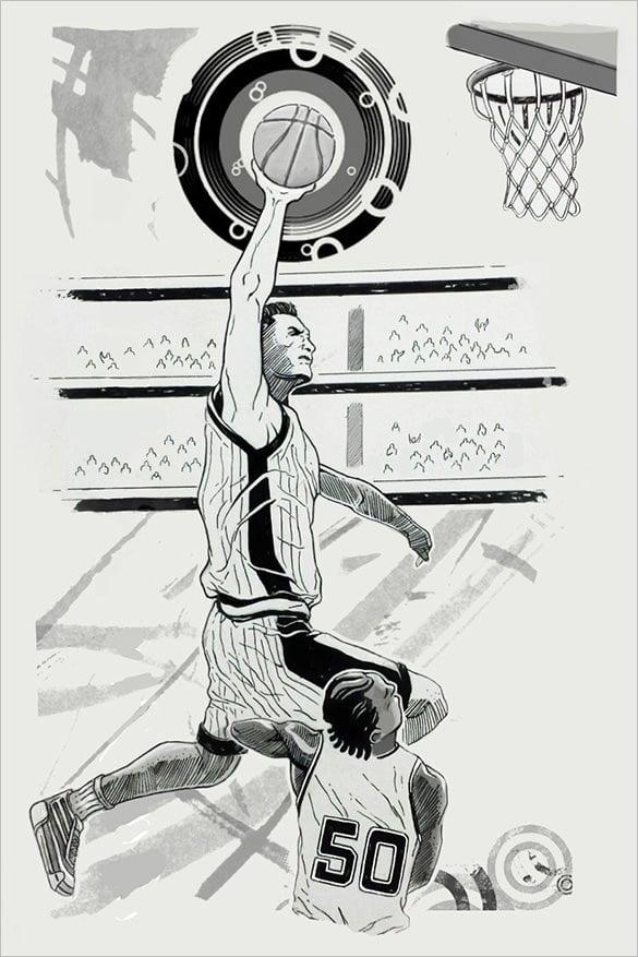 wonderful drawing of basketball players