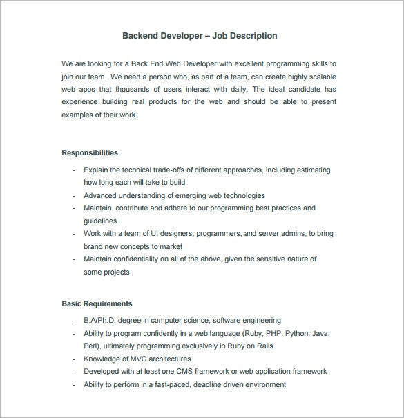 Web Developer Job Description Template 9 Free Word PDF Format – Web Developer Job Description