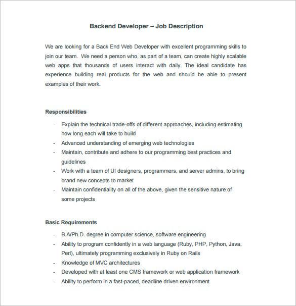 Senior Net Developer Job Description