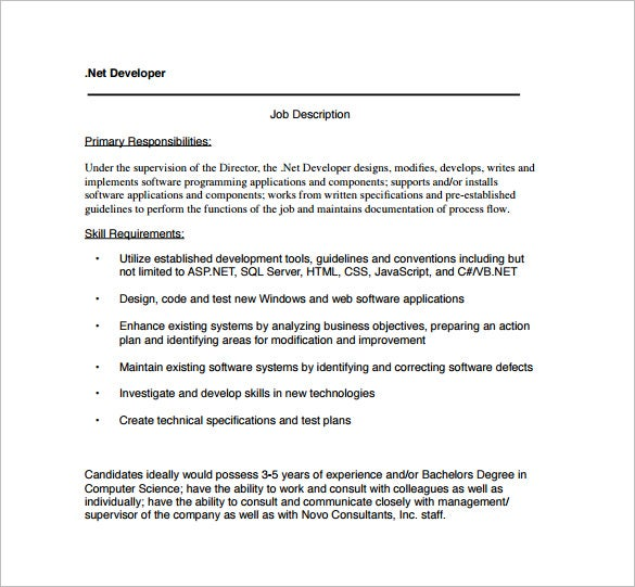 net web developer job description pdf template free download