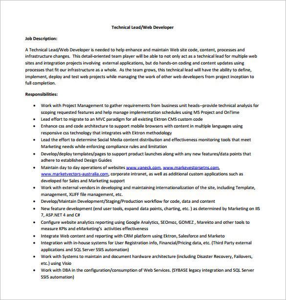 Senior Net Developer Job Description – Software Developer Job Description