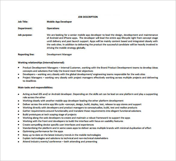 Web Developer Job Description Template   Free Word Pdf Format