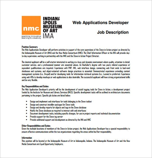 free web application developer job description pdf download