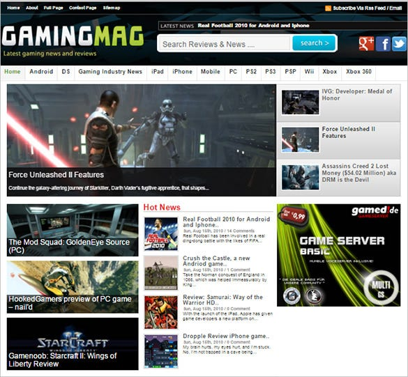 gaming magazine blog template