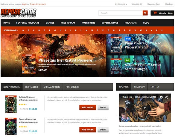 responsive gaming store blog theme