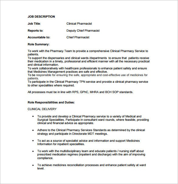 clinical pharmacist job description free pdf template
