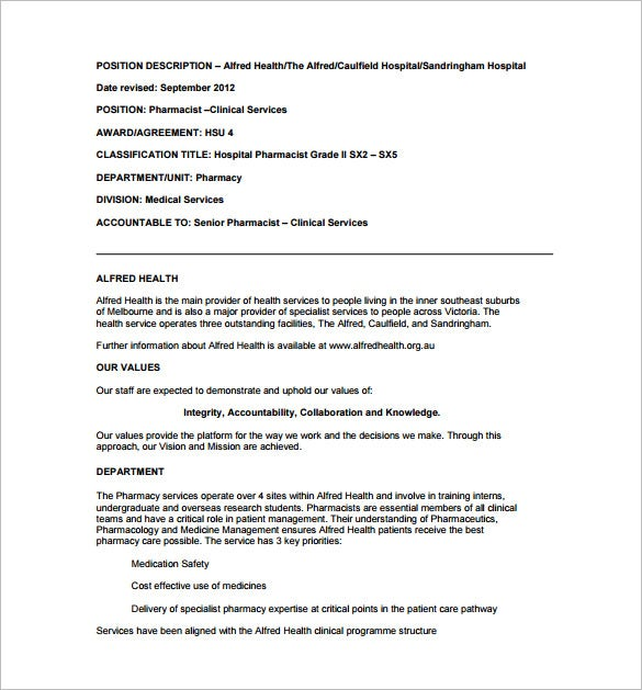 8  pharmacist job description templates