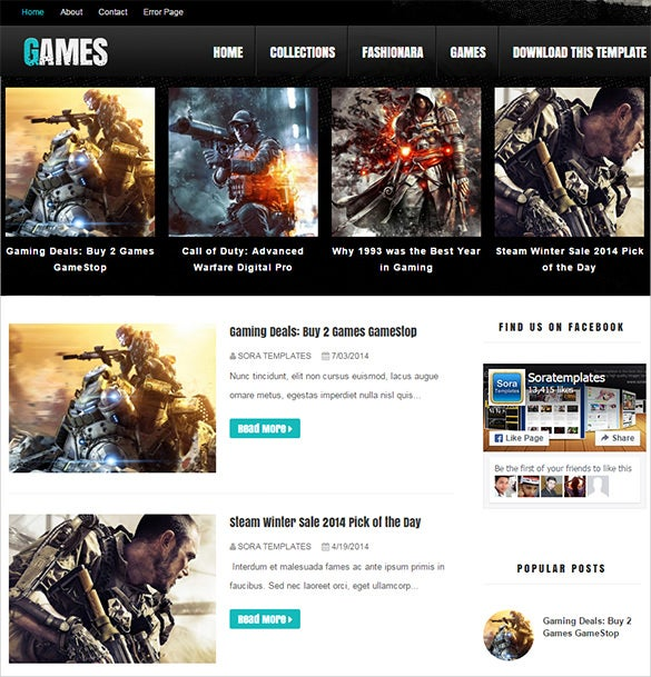 dark gaming blog theme