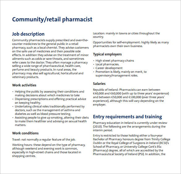 free pharmacist job description for community free template