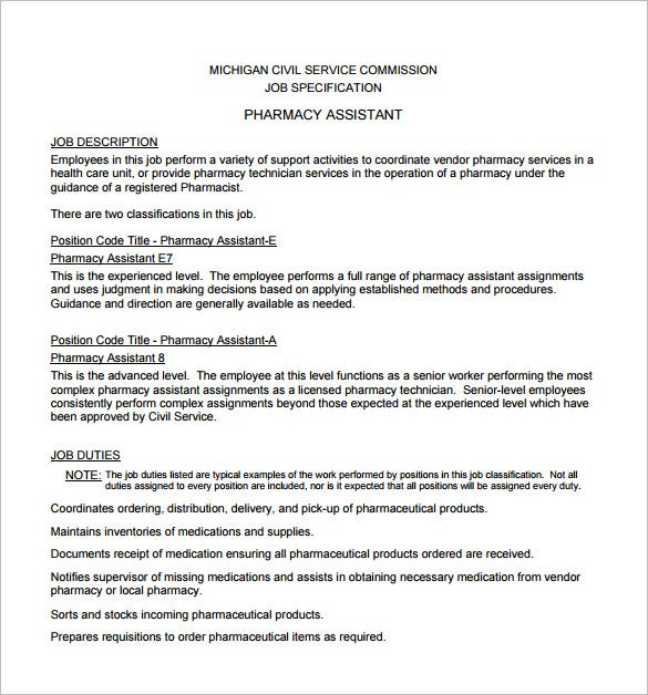 assistant pharmacist job description free pdf template download