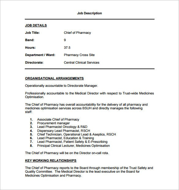 chief pharmacist job description pdf free download