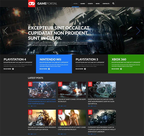 Free Gaming Website Templates Html Geccetackletartsco - Gaming website template