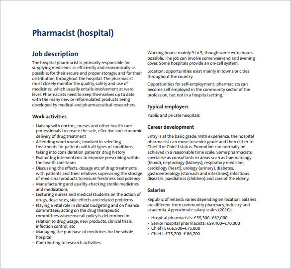 free research pharmacist job description pdf download