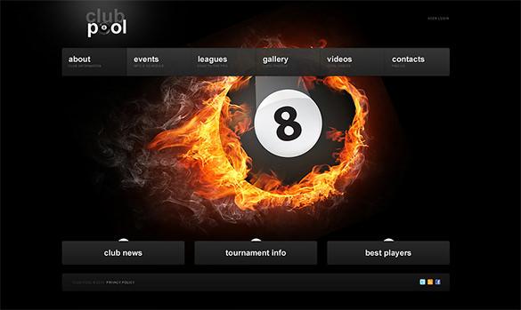 club pool gaming html5 template