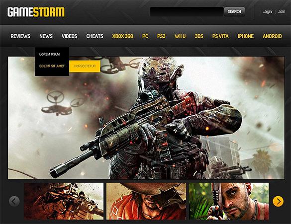 responsive gaming html5 theme