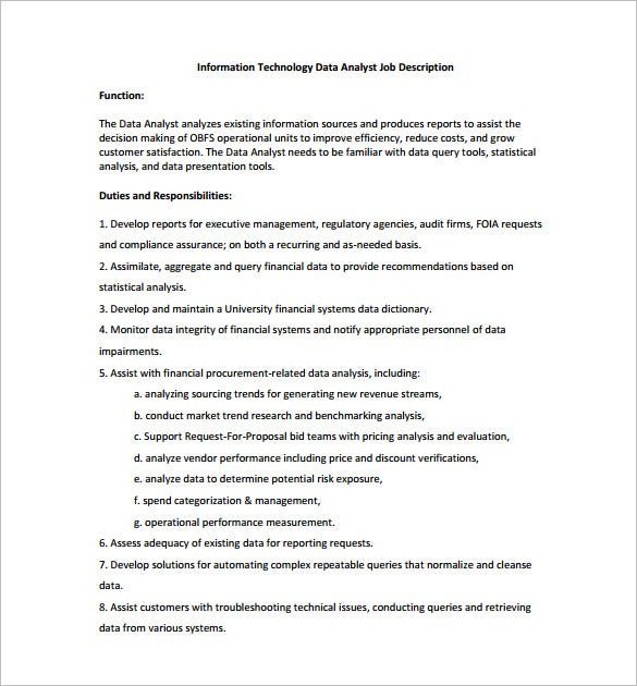 information technology data analyst job description free pdf template
