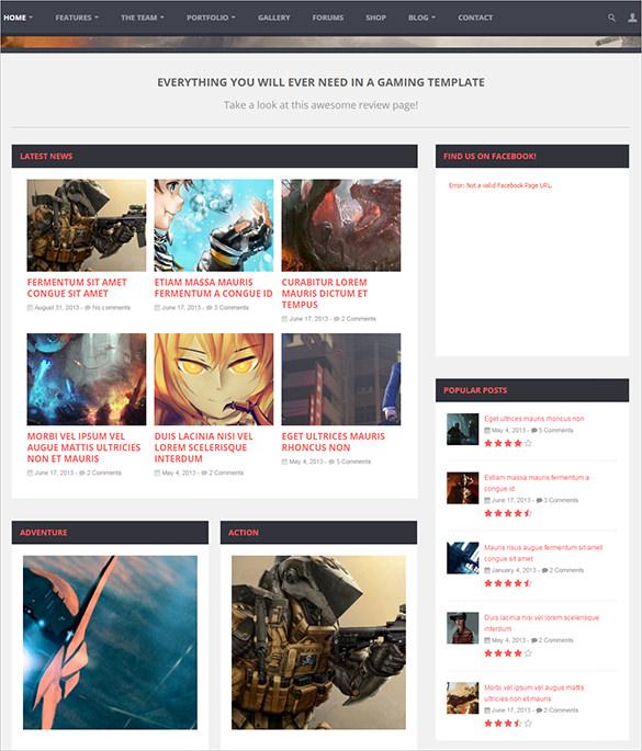 multi purpose html5 gaming theme