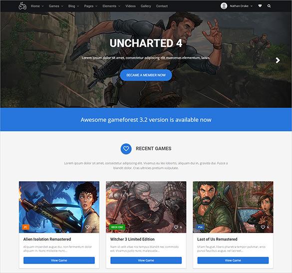 premium responsive html5 gaming theme
