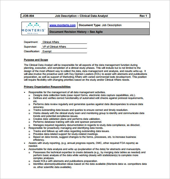 free clinical data analyst job description pdf download