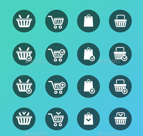 premium set of shopping cart icons