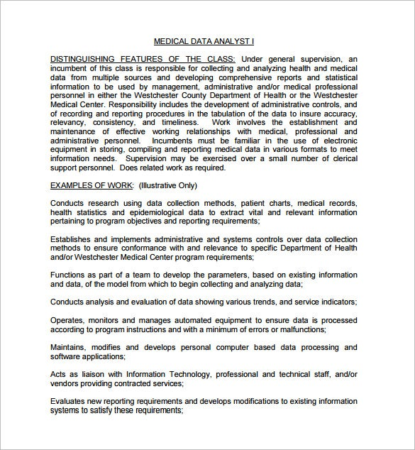 data analyst job description for medical field free pdf template