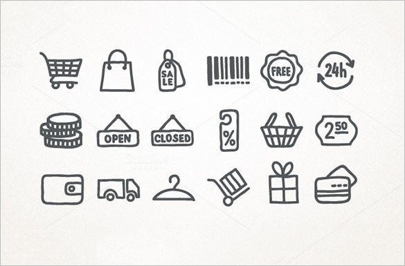 hand drawn shopping cart icons