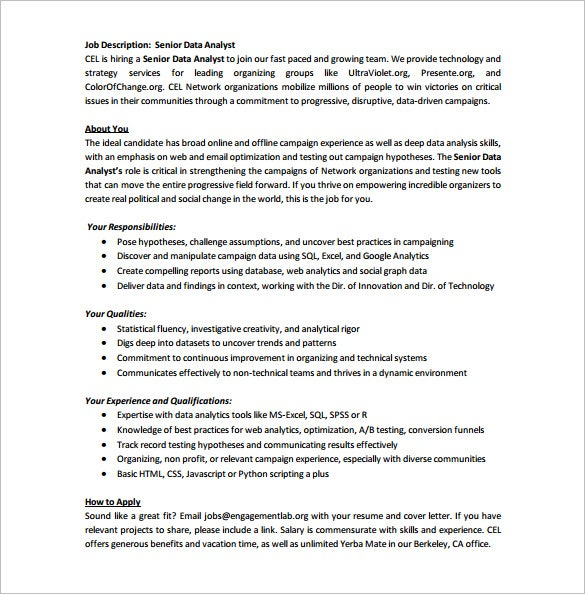 senior data analyst job description pdf free template download
