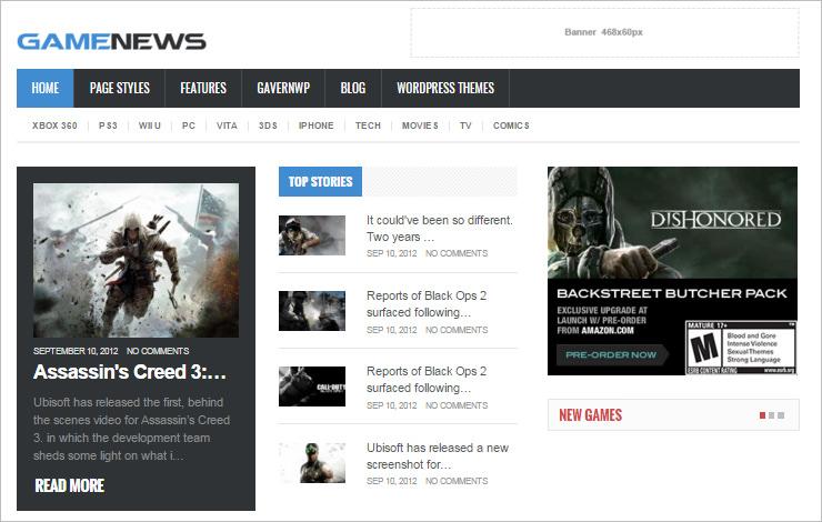 gaming news html5 theme