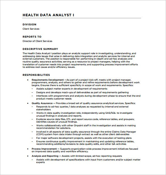 data analyst job description for health care free pdf download