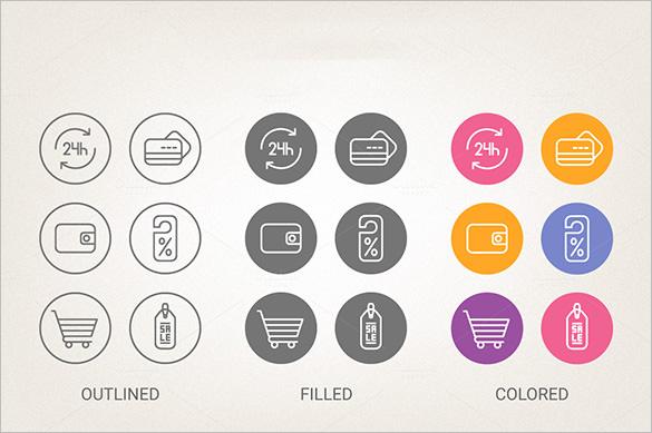 circle shopping cart icons