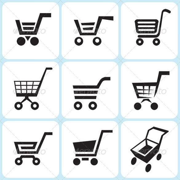 premium shopping cart icons set