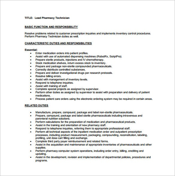free lead pharmacy technician job description pdf download