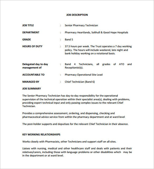 senior pharmacy technician job description pdf free download