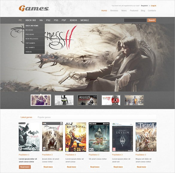 games psd template