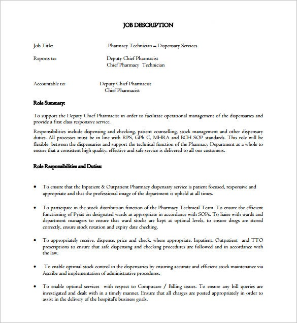 inpatient out patient pharmacy technician job description free pdf