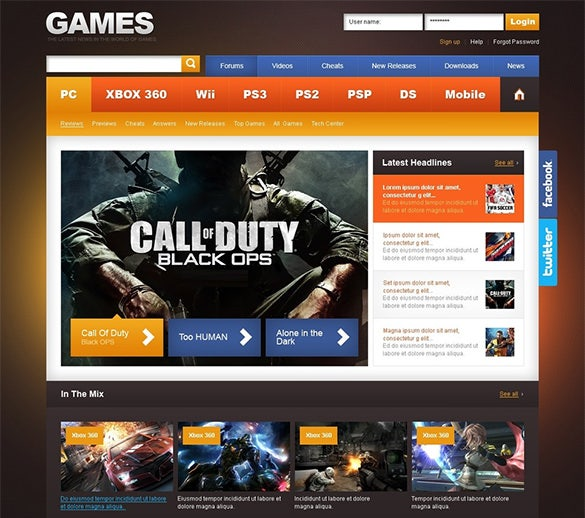 gaming psd template