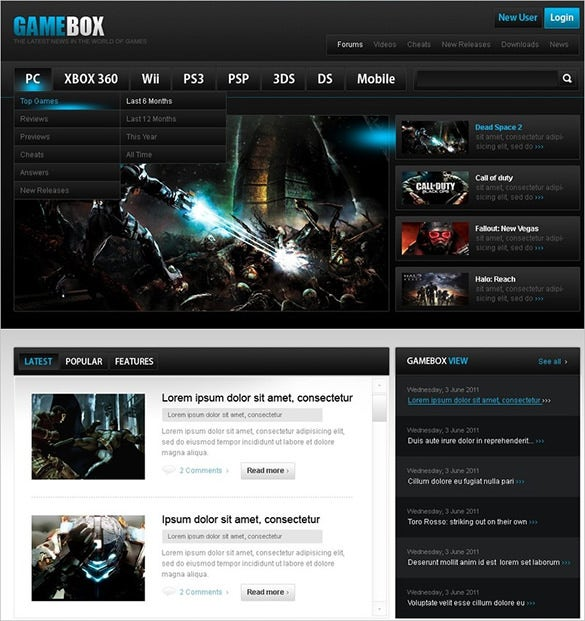 game box gaming psd theme