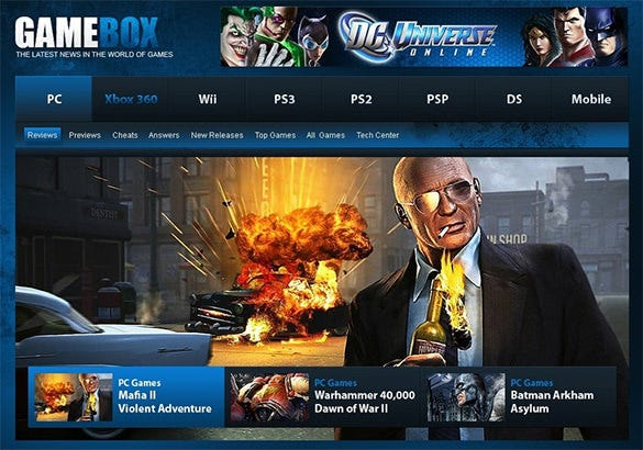 online gaming psd template