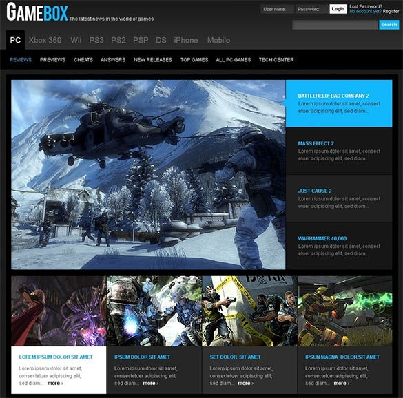 splendid gaming psd theme