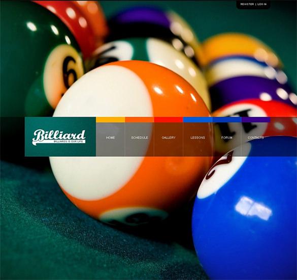 billiards psd template