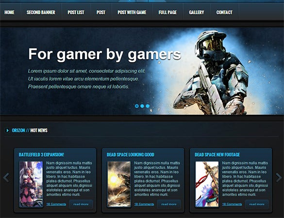 dark gaming psd template